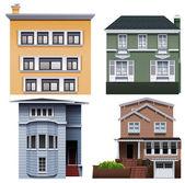 Four buildings — Stock Vector