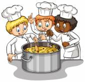 A group of chefs idiom — Stock Vector