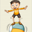 A boy on the ball — Stock Vector #65500789