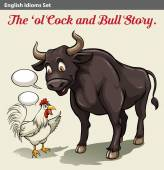 A cock and a bull idiom — Stock Vector