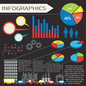 An infographics with humans and vehicles — Vetor de Stock