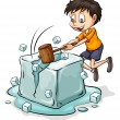 Boy breaking the icecube — Stock vektor #66116397