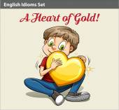A boy holding a heart — Stock Vector