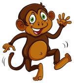 Playful brown monkey — Stock Vector