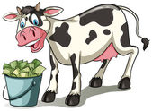 A cow watching the pail — Stock Vector