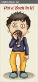 A man eating his socks — Stock Vector