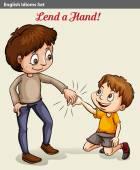 A boy lending his hand — Stock Vector