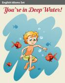 A boy in deep water — Stock Vector