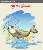 A fish getting caught — Stock Vector