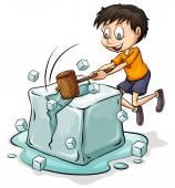 Boy breaking the icecube — Stock Vector