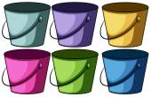 Six colourful buckets — Stock Vector