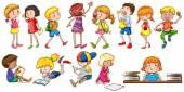 Kids engaging in different activities — Stock Vector