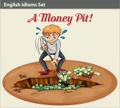 English idiom showing the wealth at the pit — Stock Vector