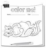 Coloring worksheet with a cat and a pencil — Stock Vector