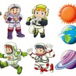 Постер, плакат: Astronauts and planets