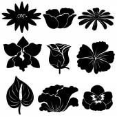 Black flower templates — Stock Vector