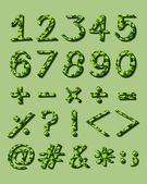 Numerical figures with green artwork — Stock Vector