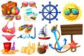 Things ideal for a beach outing — Stock Vector