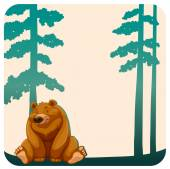 Bear and trees — Stock Vector