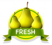 Fresh food label with pears — Stock Vector
