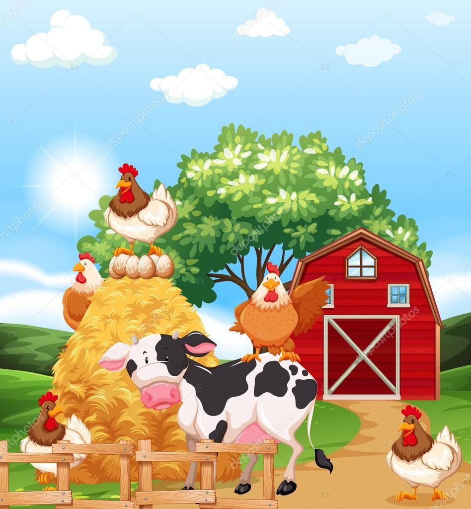 农场动物一起在农舍里