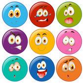 Výrazy obličeje v kruhu emotikonu — Stock vektor