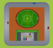 Top view of football field — Stock Vector