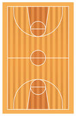 Wooden basketball court with lines — Stock Vector