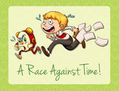 Idiom race against time — Stock Vector