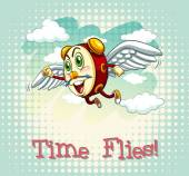 English idiom time flies — Stock Vector