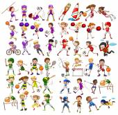 Kids playing various sports — Stock Vector
