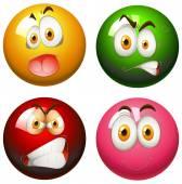 Snooker balls with faces — Stock Vector