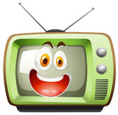 Retro television with face — Stock Vector