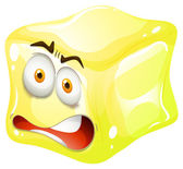 Yellow cube with tensed face — Stock Vector