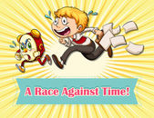 Race against time idiom — Stock Vector