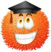 Fluffy ball with graduation cap — Stock Vector