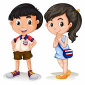 Thai boy and girl smiling — Stock Vector
