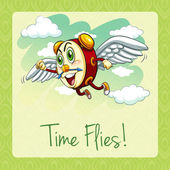 Old idiom time flies — Stock Vector
