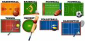 Sport courts and equipment — Stock Vector