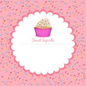 Border design with cupcake — Stock Vector