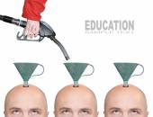 Hairless men's heads with funnels and fuel nozzle — Stock Photo