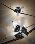 Vintage fighter planes — Stock Photo