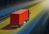 Container truck on the highway. — Stock Photo