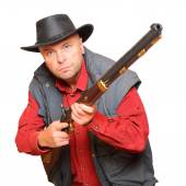 Cowboy with big bore rifle — Stock Photo