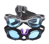 Swimming goggles and plastic nasal clamp. — Stock Photo