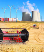 Industrial landscape with different energy resources — Stock Photo