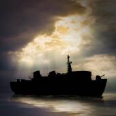 Mysterious ghost ship — Stock Photo