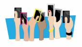 Hands mobile — Stock Vector