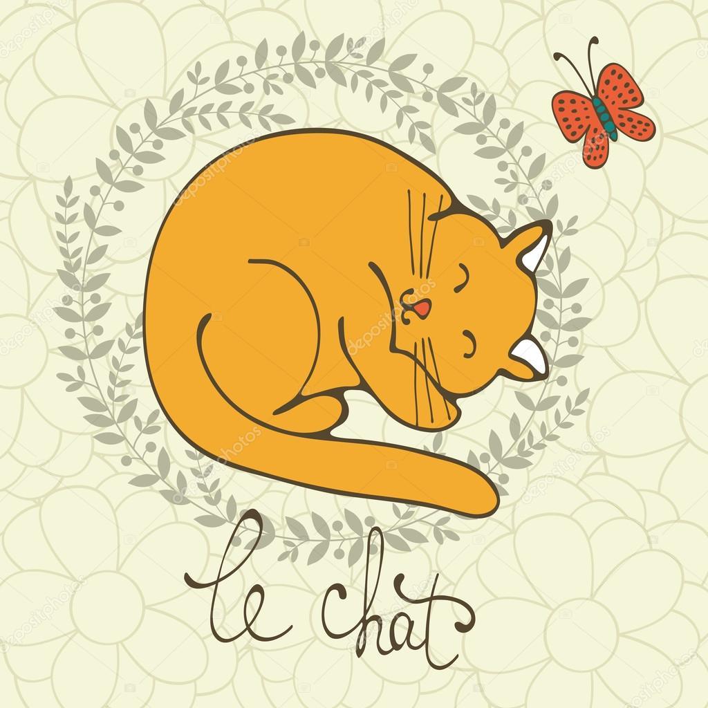 フランス語のかわいい猫キャラ イラストと猫語のレタリング、Le Chat は、フランス語で猫を意味します。ベクトル形式のイラスト \u2014 Vector by Japanez