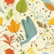 Autumn pattern with leaves and birds — Stock Vector #53164941